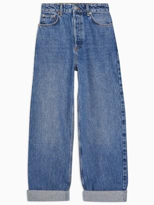 Topshop Oversized Mom Jeans- Blue