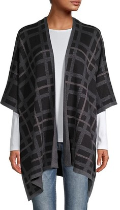 Anne Klein Plaid Print Cotton-Blend Cardigan