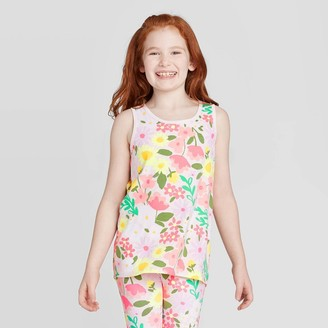 Cat & Jack Girls' Floral Print Graphic Tank Top - Cat & JackTM Light Peach