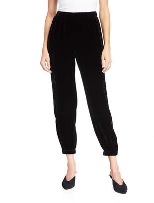 Eileen Fisher Plus Size Velvet Pull-On Ankle Pants w/ Elastic Cuffs