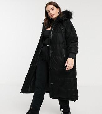 Urbancode Curve longline puffer jacket in black tonal snake print