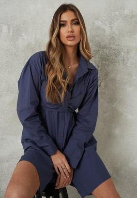 Missguided Blue Bralette Overlay Shirt Dress
