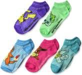 """Pokemon Girls' """"Striped Play"""" 5-Pack Ankle Socks"""