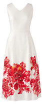 Lands' End Women's Tall Sleeveless Woven A-line Dress-Sunny Yellow Floral Border