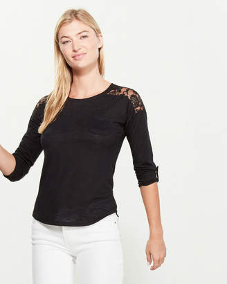 Paper + Tee Lace Shoulder Long Sleeve Roll Cuff Tee