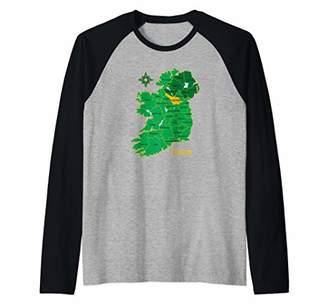 Celtic Cavan Ireland County Map Eire Irish Travel Gift Raglan Baseball Tee