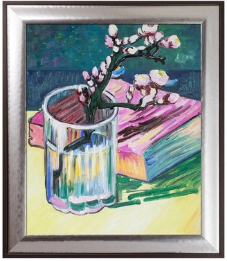 Blossoming Almond Branch in a Glass with a Book, 1888 - Framed Oil reproduction of an original painting by Vincent Van Gogh