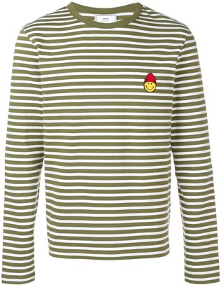 Ami Paris Long Sleeved Striped T Shirt With Smiley Patch