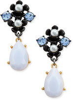 Kate Spade Gold-Tone Flower and Stone Drop Earrings