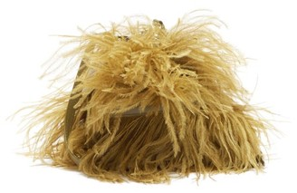 Marques Almeida Feather-trimmed Leather Bag - Khaki
