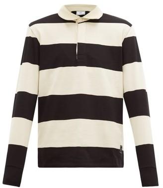 Ami Striped Long Sleeve Cotton Polo Shirt - Mens - Black Multi