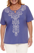 Alfred Dunner Short Sleeve Split Crew Neck T-Shirt-Plus