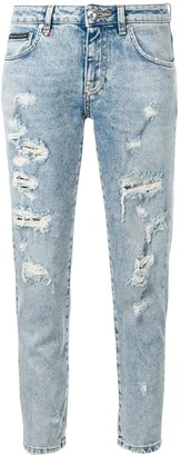 Philipp Plein Ripped Slim Fit Jeans