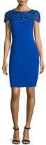 Sue Wong Short-Sleeve Embroidered-Yoke Sheath Dress, Sapphire