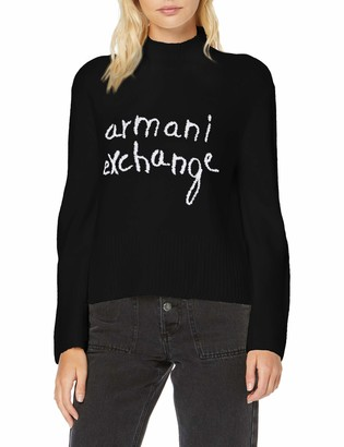 A|X Armani Exchange Women's High Neck Sweater with Large Armani Exchange Script Graphic