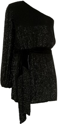 retrofete One Shoulder Sequin Mini Dress