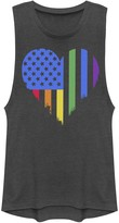 Unbranded Juniors' American Heart Rainbow Flag Pride Graphic Muscle Tee