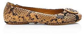 Tory Burch Women's Minnie Snakeskin-Embossed Leather Ballerina Flats