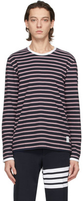 Thom Browne Navy and Red Ringer Long Sleeve T-Shirt