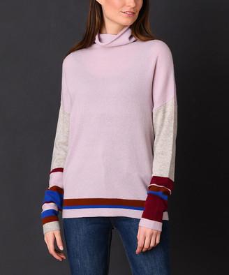 InCashmere In Cashmere Women's Pullover Sweaters Dove - Dove Gray & Burgundy Color Block Cashmere Cowl Neck Sweater - Women