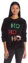 Miss Chievous Juniors Sequin Ho Ho Ho Soft Cozy Christmas Sweater