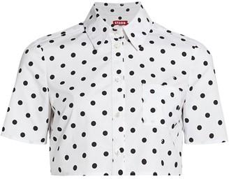 STAUD Violet Polka Dot Shirt Crop Top