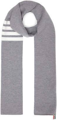 Thom Browne Milano Stitch Scarf in Light Grey | FWRD