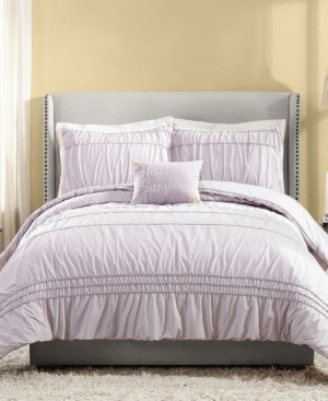 Jessica Simpson 4 Piece Ruched Stripe Full/Queen Comforter Set