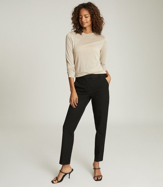 Reiss JOANNE CROPPED TAILORED TROUSERS Black