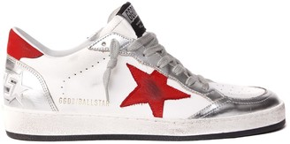 Golden Goose Ball Star White, Red, Silver Leather Sneaker