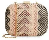 Franchi Woven Pattern Straw Convertible Clutch