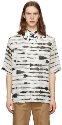 Burberry Black and White Silk Overlay Watercolor Shirt