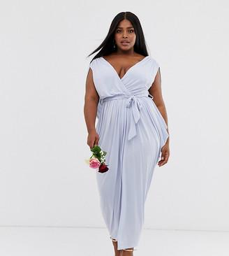 Club L London Plus slinky cowl back bridesmaid maxi dress-Blue