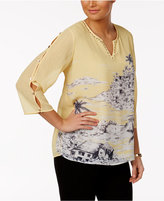 Alfred Dunner Seas the Day Button-Sleeve Top