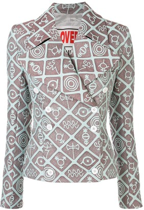 Charles Jeffrey Loverboy Symbols Print Double Breasted Blazer