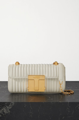 Tom Ford 001 Medium Quilted Leather Shoulder Bag - Ivory