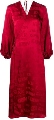 Kirin Logo-Print Satin Wrap Dress