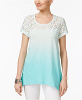 Style&Co. Style & Co Lace-Yoke Ombre Top, Created for Macy's