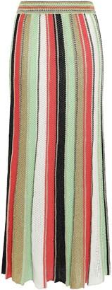 M Missoni Metallic-trimmed Striped Crocheted Cotton-blend Maxi Skirt