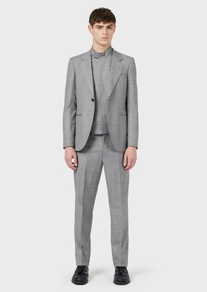 Emporio Armani Slim-Fit, Light-Wool, Single-Breasted Suit With Jacquard Plaid Motif