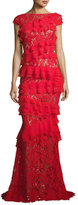 Talbot Runhof Northcliff Cap-Sleeve Tiered-Ruffle Lace Gown, Red