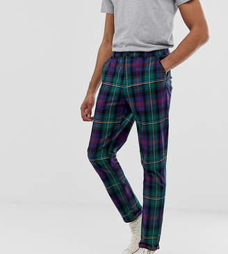 Asos Design DESIGN Tall tapered pants in plaid-Green