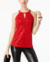 INC International Concepts I.n.c. Sequinned Halter Top, Created for Macy's