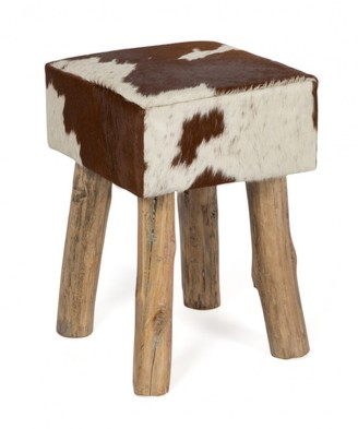 Home & Giftware Cow Hide Square Stool Tan/white