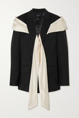 Simone Rocha Bow-detailed Silk Satin And Wool-blend Blazer - Black