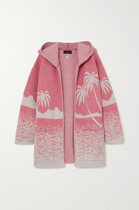 Alanui Oversized Hooded Wool-jacquard Cardigan - Pink
