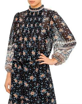 Ulla Johnson Floral Dotted Print Cass L/S Blouse