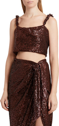 Balmain Cropped Sequin Twisted Strap Top