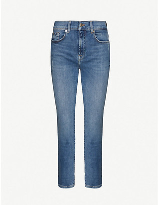 7 For All Mankind Skinny high-rise stretch-denim jeans