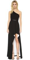 Halston One Shoulder Gown with High Low Skirt